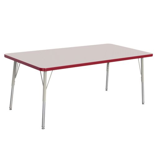 "Berries® 30"" x 60"" Rectangle Activity Table,  24"" - 31"" Leg Height - Red"