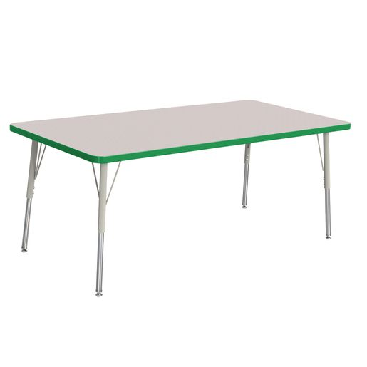 """Berries® 30"""" x 60"""" Rectangle Activity Table,  24"""" - 31"""" Leg Height - Green"""