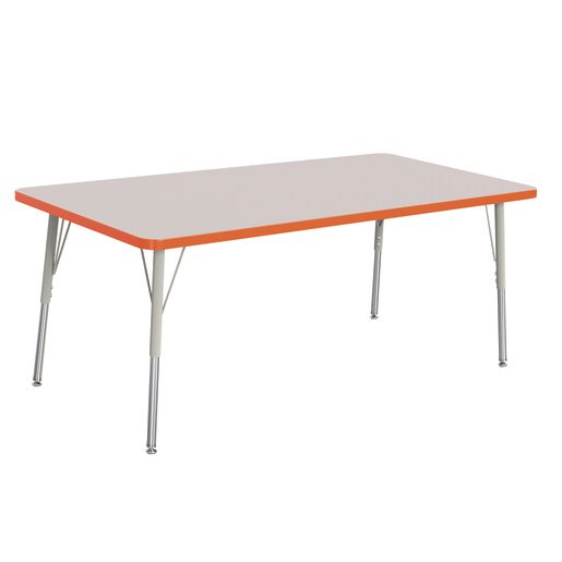 "Berries® 30"" x 60"" Rectangle Activity Table,  24"" - 31"" Leg Height - Orange"