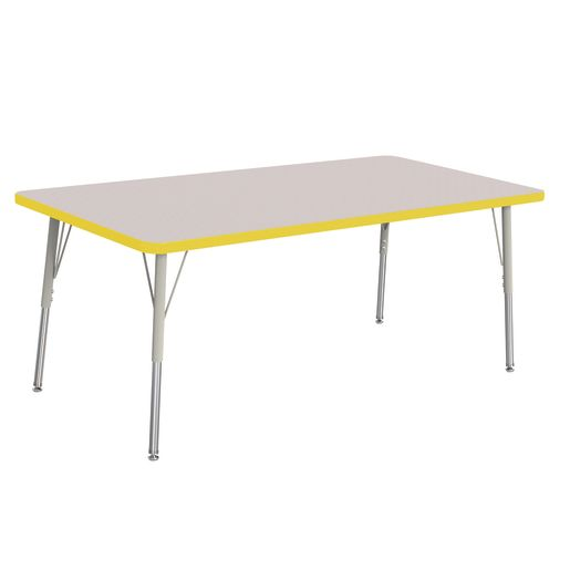 "Berries® 30"" x 60"" Rectangle Activity Table,  24"" - 31"" Leg Height - Yellow"