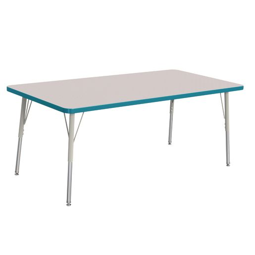"Berries® 30"" x 60"" Rectangle Activity Table,  24"" - 31"" Leg Height - Teal"
