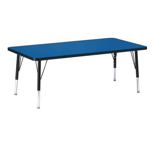 "Berries® 30"" x 60"" Rectangle Activity Table, 11"" - 15"" Leg Height - Blue/Black"