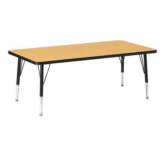 "Berries® 30"" x 60"" Rectangle Activity Table, 11"" - 15"" Leg Height - Oak/Black"