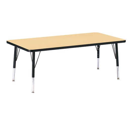 "Berries® 30"" x 60"" Rectangle Activity Table, 11"" - 15"" Leg Height - Maple/Black"