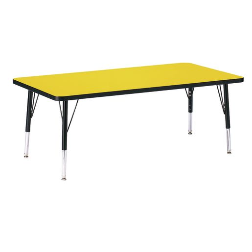 "Berries® 30"" x 60"" Rectangle Activity Table, 15"" - 24"" Leg Height - Yellow/Black"