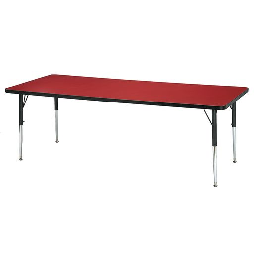 "Berries® 30"" x 60"" Rectangle Activity Table, 15"" - 24"" Leg Height - Red/Black"
