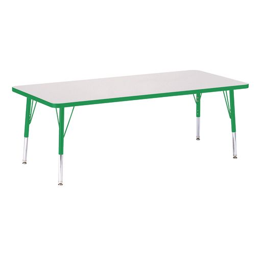 "Berries® 30"" x 72"" Rectangle Activity Table, 11"" - 15"" Leg Height - Green"
