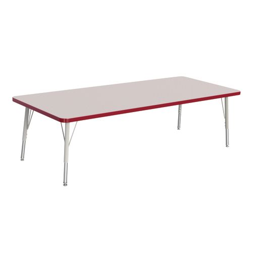 "Berries® 30"" x 72"" Rectangle Activity Table, 15"" - 24"" Leg Height - Red"