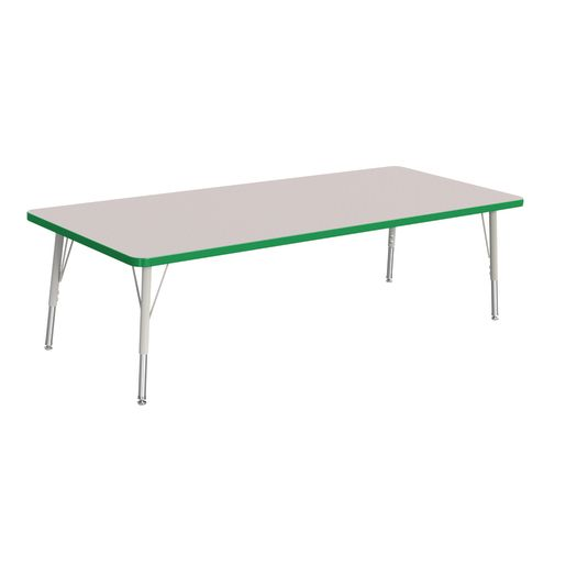 """Berries® 30"""" x 72"""" Rectangle Activity Table, 15"""" - 24"""" Leg Height - Green"""