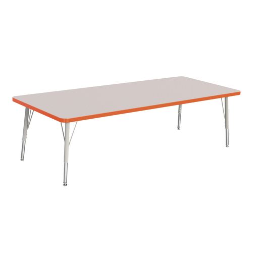 "Berries® 30"" x 72"" Rectangle Activity Table, 15"" - 24"" Leg Height - Orange"
