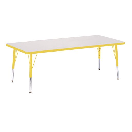 "Berries® 30"" x 72"" Rectangle Activity Table, 15"" - 24"" Leg Height - Yellow"