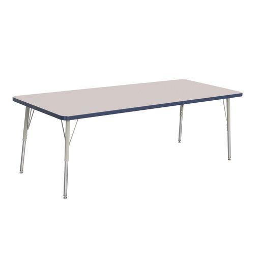 "Berries® 30"" x 72"" Rectangle Activity Table, 24"" - 31"" Leg Height - Navy"