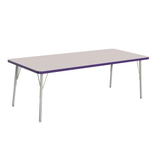 "Berries® 30"" x 72"" Rectangle Activity Table, 24"" - 31"" Leg Height - Purple"