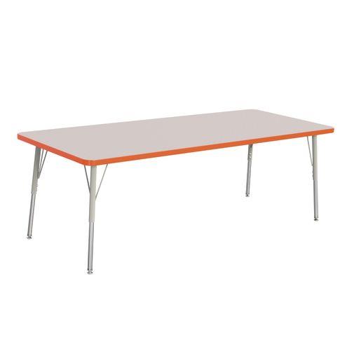 "Berries® 30"" x 72"" Rectangle Activity Table, 24"" - 31"" Leg Height - Orange"
