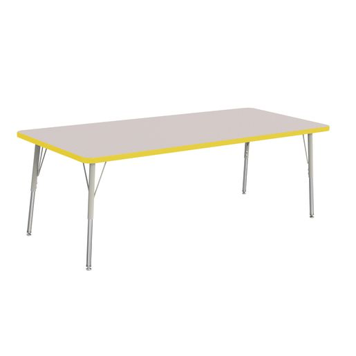 """Berries® 30"""" x 72"""" Rectangle Activity Table, 24"""" - 31"""" Leg Height - Yellow"""