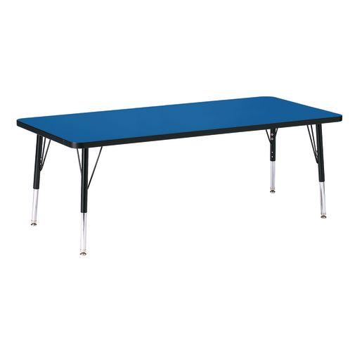 "Berries® 30"" x 72"" Rectangle Activity Table, 11"" - 15"" Leg Height - Blue/Black"