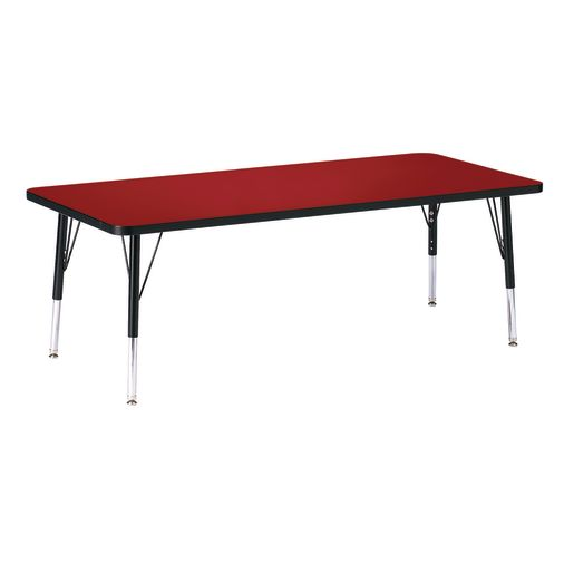 """Berries® 30"""" x 72"""" Rectangle Activity Table, 11"""" - 15"""" Leg Height - Red/Black"""