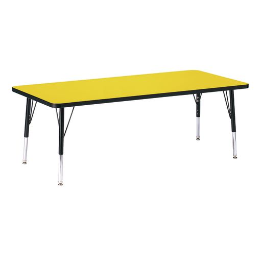 "Berries® 30"" x 72"" Rectangle Activity Table, 24"" - 31"" Leg Height - Yellow/Black"