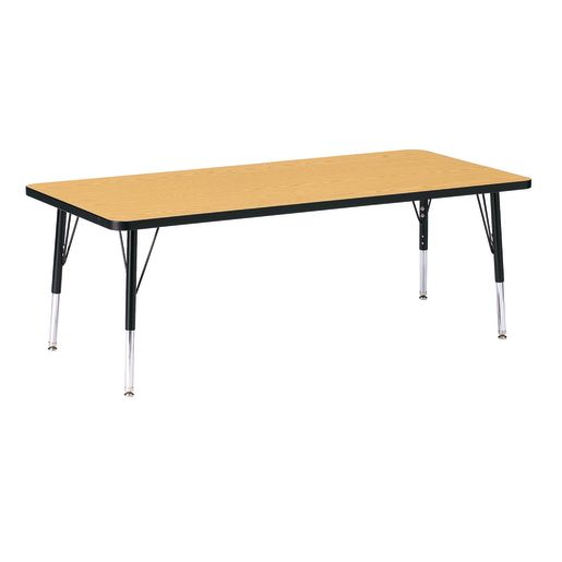 "Berries® 30"" x 72"" Rectangle Activity Table, 24"" - 31"" Leg Height - Oak/Black"