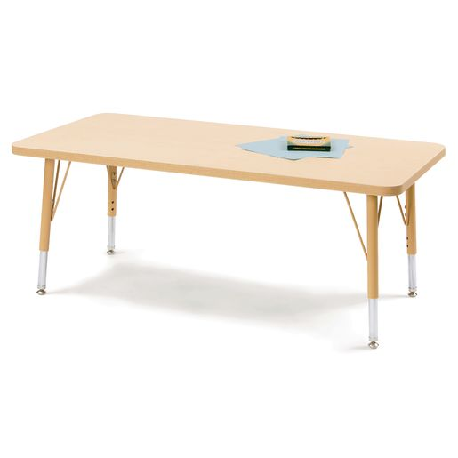 "30"" x 72"" Berries® Maple Prism Activity Table - Rectangle, 11"" - 15"" Leg Height"