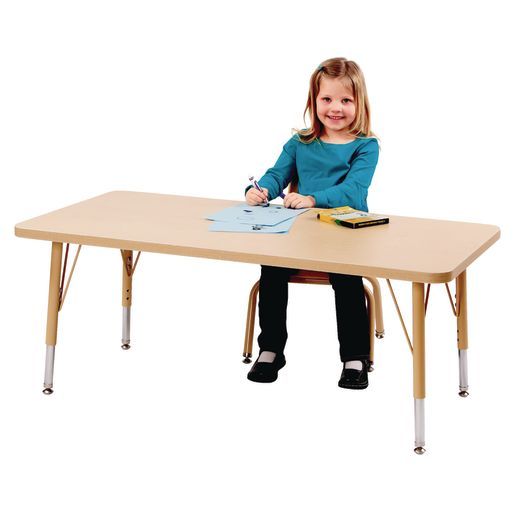 """30"""" x 72"""" Berries® Maple Prism Activity Table - Rectangle, 24"""" - 31"""" Leg Height"""