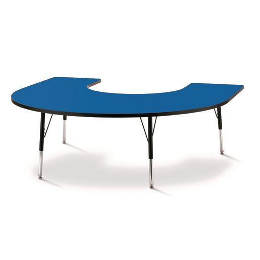 "Berries® 60"" x 66"" Horseshoe Activity Table, 11"" - 15"" - Blue/Black"
