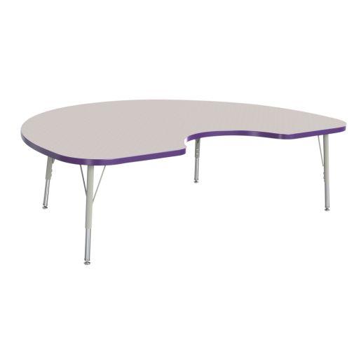 "Berries® 48"" x 72"" Kidney Activity Table, 15"" - 24"" Leg Height - Purple"
