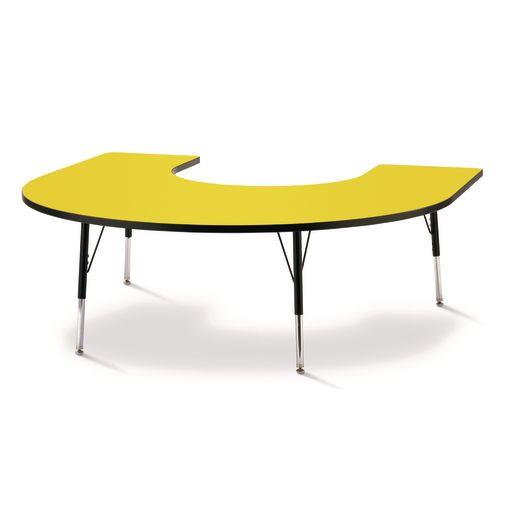 "Berries® 60"" x 66"" Horseshoe Activity Table, 24"" - 31"" - Yellow/Black"