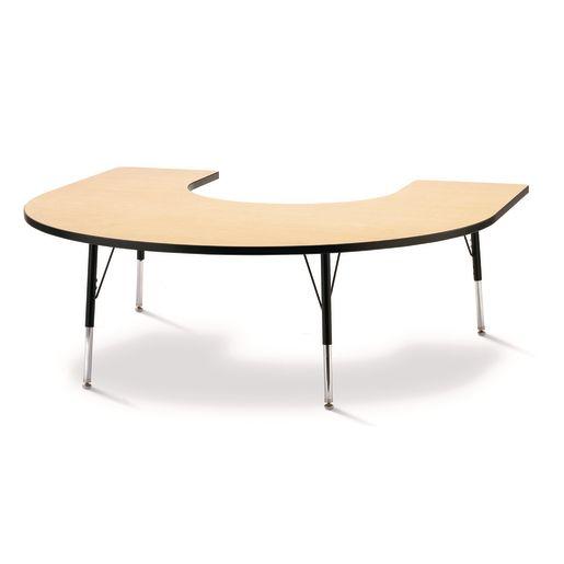 """Berries® 60"""" x 66"""" Horseshoe Activity Table, 24"""" - 31"""" - Maple/Black"""