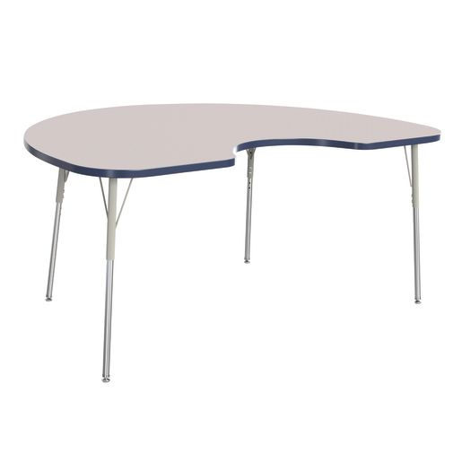 "Berries® 48"" x 72"" Kidney Activity Table, 24"" - 31"" Leg Height - Navy"