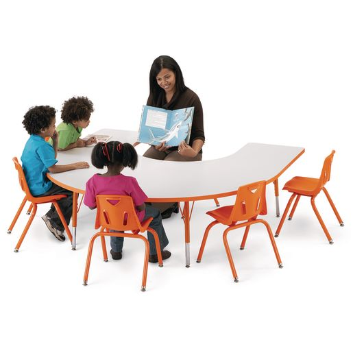 "Berries® 60"" x 66"" Horseshoe Activity Table, 11"" - 15"" - Orange"