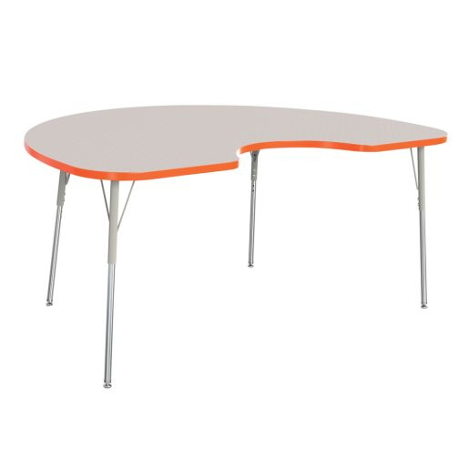 "Berries® 48"" x 72"" Kidney Activity Table, 24"" - 31"" Leg Height - Orange"