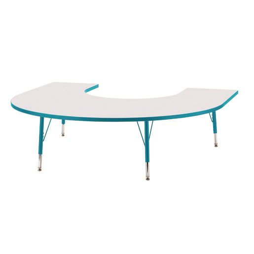 "Berries® 60"" x 66"" Horseshoe Activity Table, 11"" - 15"" - Teal"