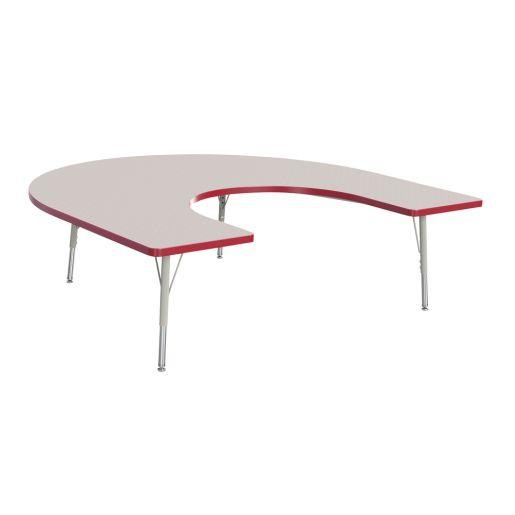 "Berries® 60"" x 66"" Horseshoe Activity Table, 15"" - 24"" - Red"