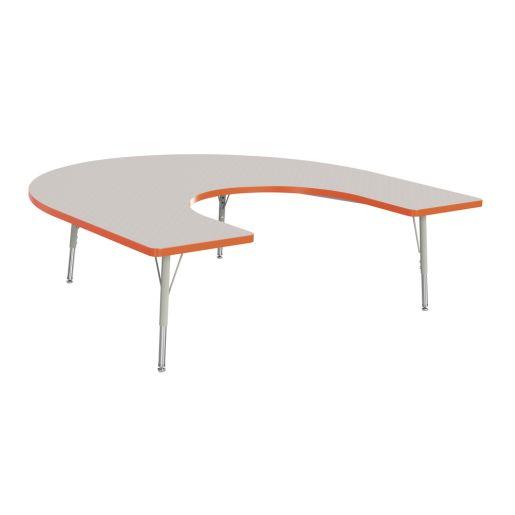 """Berries® 60"""" x 66"""" Horseshoe Activity Table, 15"""" - 24"""" - Orange"""