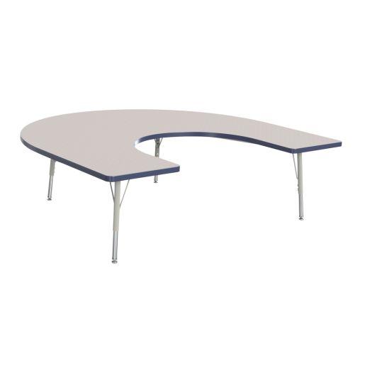 "Berries® 60"" x 66"" Horseshoe Activity Table, 24"" - 31"" - Navy"