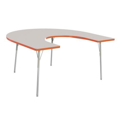 """Berries® 60"""" x 66"""" Horseshoe Activity Table, 24"""" - 31"""" - Orange"""