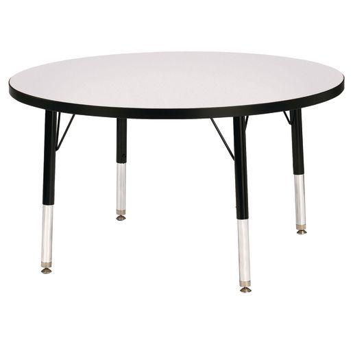 "Berries® 36""Dia. Round Activity Table, 11"" - 15"" Leg Height - Gray/Black"