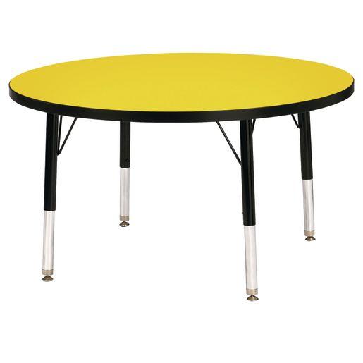 "Berries® 36""Dia. Round Activity Table, 15"" - 24"" Leg Height - Yellow/Black"