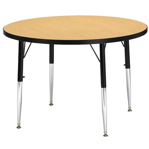"Berries® 36""Dia. Round Activity Table, 15"" - 24"" Leg Height - Oak/Black"
