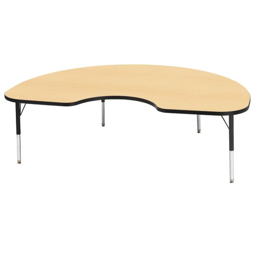 "Berries® 48"" x 72"" Kidney Activity Table, 24"" - 31"" Leg Height - Maple/Black"