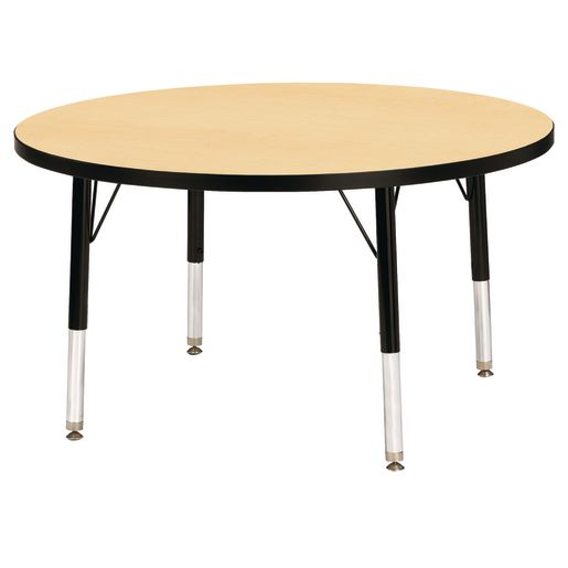 "Berries® 36""Dia. Round Activity Table, 15"" - 24"" Leg Height - Maple/Black"