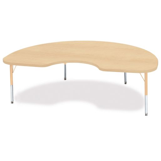 "48"" x 72"" Berries® Maple Prism Activity Table - Kidney, 15"" - 24"" Leg Height"
