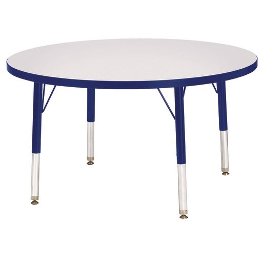 """Berries® 36""""Dia. Round Activity Table, 11"""" - 15"""" Leg Height - Blue"""