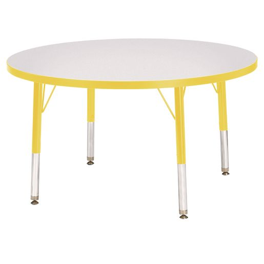 "Berries® 36""Dia. Round Activity Table, 11"" - 15"" Leg Height - Yellow"
