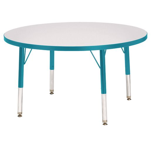 """Berries® 36""""Dia. Round Activity Table, 11"""" - 15"""" Leg Height - Teal"""