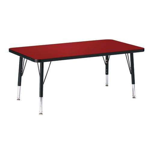 """Berries® 24"""" x 36"""" Rectangle Activity Table, 11"""" - 15"""" Leg Height - Red/Black"""