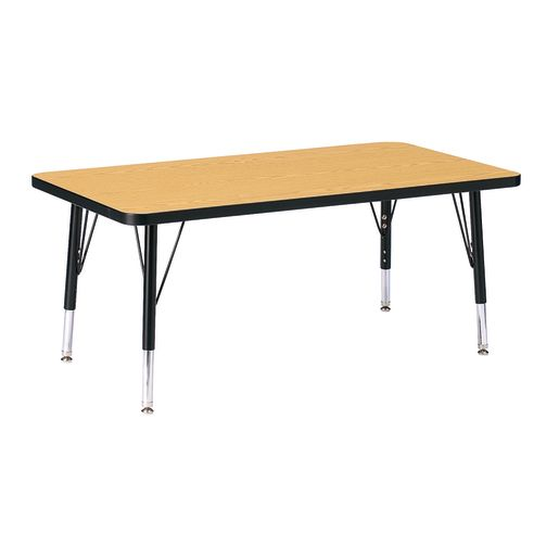 "Berries® 24"" x 36"" Rectangle Activity Table, 11"" - 15"" Leg Height - Oak/Black"