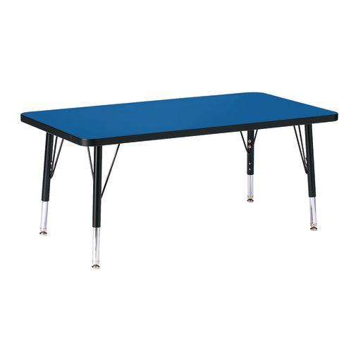 "Berries® 24"" x 36"" Rectangle Activity Table, 15"" - 24"" Leg Height - Blue/Black"