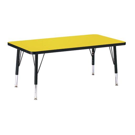 "Berries® 24"" x 36"" Rectangle Activity Table, 15"" - 24"" Leg Height - Yellow/Black"